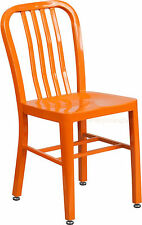 Mid-Century Orange 'Navy' Style Dining Chair Cafe Patio Restaurant In-Outdoor