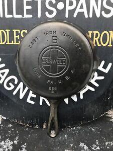 GRISWOLD No 6 Skillet Cast Iron Large Block Logo 699B Smooth FLAT ,NO RESV