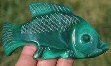 99mm 3.6OZ Natural Green Malachite Crystal Carving Art Fish