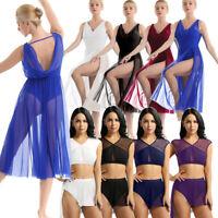 Women Girl Hem Lyrical Dress Contemporary Ballet Dance Gymnastics Leotard Skirt