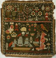 More details for mid 19th century welsh ship, dog & motif sampler by jane davies aged 10 - 1869