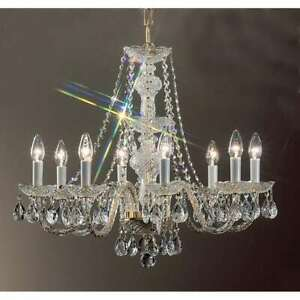 Classic Lighting Monticello Crystal All Glass Chandelier, Gold Plated - 8208GPI