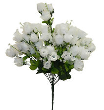 70 Mini Roses Buds ~ White ~ Silk Wedding Flowers Centerpieces Bridal Bouquets