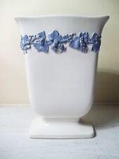 "Wedgwood White Vase Embossed Light Blue Grapevines England 8"" Grapes"
