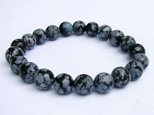 Men's Natural Gemstone Bracelet Snowflake Obsidian 10mm beads 8inch elasticated