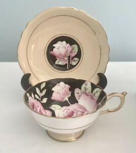 PARAGON Bone China TEA CUP & SAUCER Set BLACK & PINK CABBAGE ROSE England