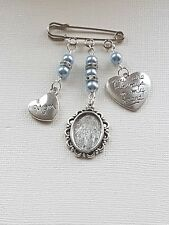 Boutonniere Pin Groom's Silver Charm Oval Picture Frame mom & always charms