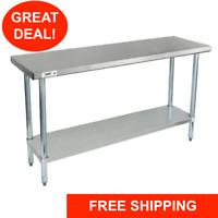 """18"""" x 60"""" Stainless Steel Work Prep Shelf Table Commercial Restaurant 18 Gauge"""
