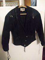 Vintage 80s 90s Womens Suede Leather Jacket Fringe Size M Rock Western Biker