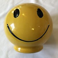 VTG HAPPY FACE SMILEY Coin Piggy Bank Yellow Glazed Ceramic Pottery USA McCOY