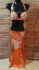 Egyptian Belly Dance Costume bra & Skirt Set Professional Dancing Black Orange