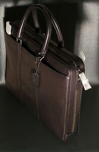 NWT Coach Metropolitan Soft Leather Brief Computer Bag in Black $495