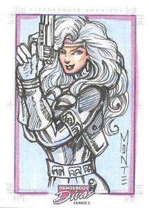 2014 Dangerous Divas Series 2 SketchaFEX Monte Moore Silver Sable sketch card