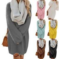 Womens Oversize Baggy Sweater Dress Fleece Fur Tunic Jumper Winter Mini Dress US