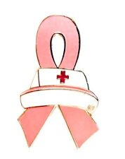 Pink Ribbon Nurse Cap Pin Red Cross Breast Cancer Awareness Nursing New