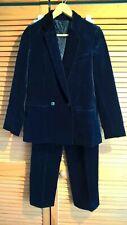 Vintage velvet trouser suit, dark blue, size XS / 6