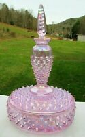 "Fenton Pink Hobnail Carnival Vanity (Puff Box with Perfume) Boxtle 7.5""H MINT"