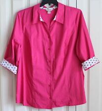 Women's Plus 3X CJ Banks Trendy Pink White Dotty Top