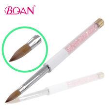 1PC Acrylic Nail Brush Kolinsky Hair Pink Rhinestone Handle Nail Art Tool #12