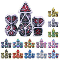 7Pcs Metal Polyhedral Dice Set for RPG Role Playing Tabletop Game Christmas Gift