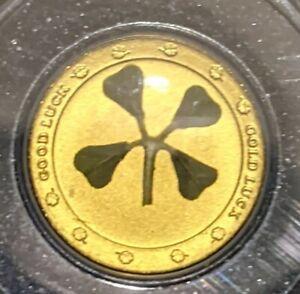 FOUR LEAF CLOVER Good Luck Gold Coin 1$ Palau