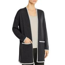 Eileen Fisher Womens Merino Wool Contrast Trim Cardigan Sweater Jacket BHFO 8914