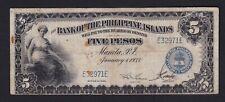 Philippines FIVE Pesos 1933 Bank of Philippine Island (5 p) SN#E32971E