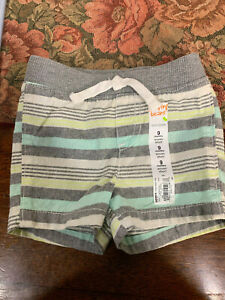 Baby Kids Boys Mint and Gray Striped Jumping Beans Shorts NEW 9 Months
