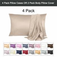 Soft Silky Satin Pillowcases for Hair&Skin Pillow Case Envelope Closure 4 Pack