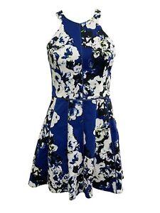 Parker Blue Floral Printed Mini Dress Flared Size XS