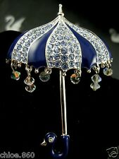 SIGNED SWAROVSKI PAVE' CRYSTAL UMBRELLA PIN ~ BROOCH RETIRED NEW WITH TAGS