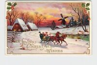 PPC POSTCARD CHRISTMAS WINSCH LOVING WISHES SLEIGH RIDE WINDMILL HOLLY EMBOSSED
