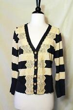 Anthropologie Field Game Cardigan L Navy Stripe Lace Sweater Charlotte Tarantola