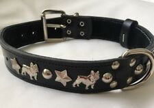 FRENCH BULLDOG 1 1/4 INCH WIDE COLLAR, REAL LEATHER SILVER