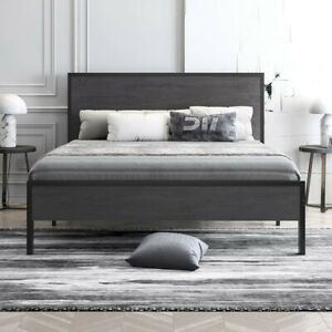 Modern Queen Size Metal Platform Bed Frame with Wood Headboard and Storage