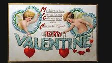 To My Valentine My Heart Is Lone For You Vintage Post Card Cupid Unused 208
