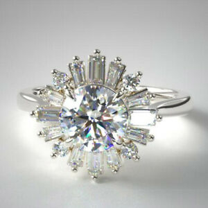 1.55 Carat Brand New Diamond Engagement Ring Solid 14K White Gold Size M N O P Q
