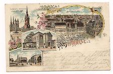 AK - Litho  - Halle/ Saale - Theater, Riebeckplatz u.a. -gel. - 1897  Stromberg