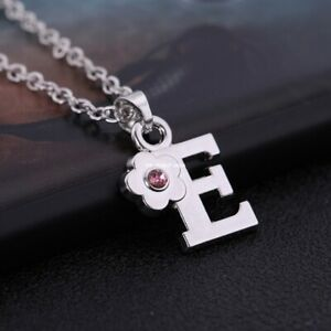 CHILDREN's Jewellery Initial Letter Pink Crystal Flower Necklace Sterling Silver