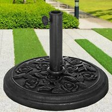 BLACK CAST IRON ROUND UMBRELLA PARASOL BASE STAND PATIO OUTDOOR GARDEN HEAVY 9KG