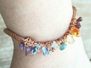 Chakra Cuff Bracelet Copper Bangle Garnet Carnelian Citrine Amethyst Sodalite