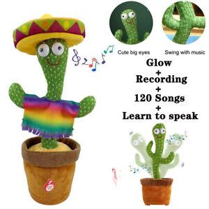 Hat Maracas Cactus Plush Toy Glow Singing Dancing Recording Electronic Shake Fun