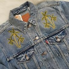 Levis Trucker Jacket Ex BF Denim Distressed Vtg  Classic Sz S C2 Light Blue $129