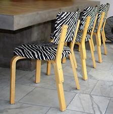 Alvar Aalto für Artek 6 Stühle Modell 63 Zebra Design by Franta