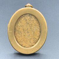 19th C. Masonic Antique French Ormolu Gilt Bronze Ornate Oval Photo Frame Easel
