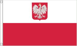 Poland Eagle Crest Flag - Large 5 x 3 FT -  State Emblem Polish Euro 2020 2021