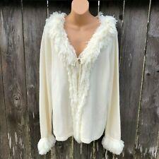 Forenza Women's Sz XL Ivory Fringe Boho Cardigan Sweater Tie Front Acrylic NWOT