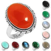 925 Sterling Silver Gemstone Ring Handmade Jewelry Size 5 6 7 8 9 10 11 12 rX202