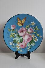 Assiette Décor Fleurs Roses et Papillon dans le Style Creil Montereau