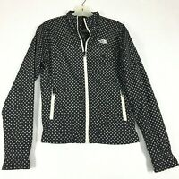 The North Face Womens S Windbreaker Jacket Black & White Polka Dot Thin Full Zip